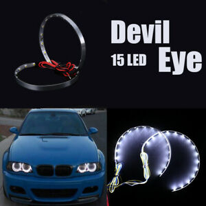 Pair White LED Lights Devil Eyes Demon Eye Auto Headlight Projector Lens Rings