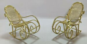 Dollhouse Miniatures - Brass Rocking Chairs w/ Mesh Back and Seat