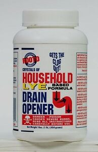 16oz ROOTO 100% Lye Drain Opener Crystals of Household Plugged Sinks Tubs #1030