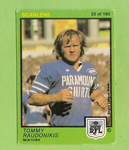 1982  NEWTOWN JETS  SCANLENS RUGBY LEAGUE CARD  #23 TOMMY RAUDONIKIS