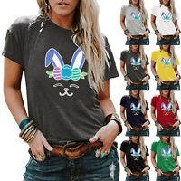 Women's Summer Printed T-shirt Tops Casual Loose Round Neck Short Sleeve Blouse