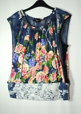 NAVY BLUE YELLOW RED FLORAL TOP BLOUSE PARTY CASUAL SIZE M STRETCH AFTERSHOCK
