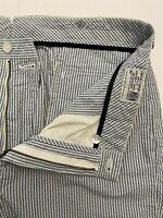 Polo Ralph Lauren 38 x 30 Blue Stripe Seersucker Preston Fit Flat Front Pants