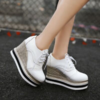 Womens Creppers Wedge Heels Wing Tip Lace Up Brogue Oxford Platform Pumps Shoes