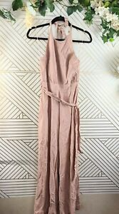 Zara Halter Tie Jumpsuit Nude Pink Size Small Backless Open Back