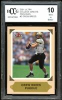 2001 Ultra College Greats Previews #2 Drew Brees Rookie Card BGS BCCG 10 Mint+