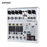 Digital Audio Mixer Mixing  Console 8-Channel White for Recording DJ Live S2B6
