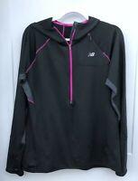 New Balance Women's XL Half Zip Black Gray Pink Hood Pullover NB Dry Reflective