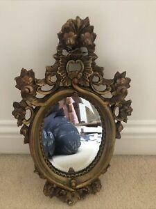 small ornate mirror Oval Gold/bronze Very Pretty Rococo Style