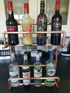 Handmade Rustic Wood,Copper Pipe Wall drinks  Unit with 3 Shelves. Wax Finish.