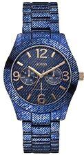 NEW NWT GUESS TRUE BLUE DENIM JEAN PRINT BRACELET LADY WATCH DATE DATE U0288L1