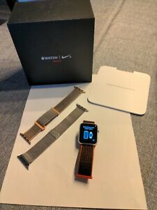 Apple Watch Series 3 CELLULAR NIKE+ RED 38mm Silver Aluminum w/3 Apple Bands ++