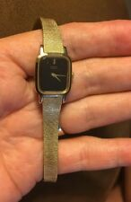 SEIKO LADIES WRIST WATCH SQ BLACK FACE GOLD TONE BAND # 2C20 NEW BATTERY