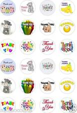 24 x PRECUT THANK YOU/THANKS RICE/WAFER PAPER CUP CAKE TOPPERS
