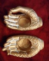 Beautiful Gold Tealight Candle holder porcelain Meditation Hands