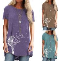 ❤Women Floral Short Sleeve T-shirt Summer Casual Loose Tee Tops Irregular Blouse