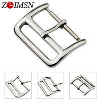 Strap Polished Silver Pin Clasp Stainless Steel Watch Bands Buckle 16 18 20 22mm