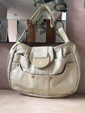 R&Y AUGOUSTI Cream Leather & Stingray Flap Shoulder Bag Handbag Excellent