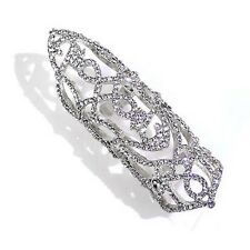 Silver Toned Finger Knuckle Armor Stretch Ring With Clear Rhinestones