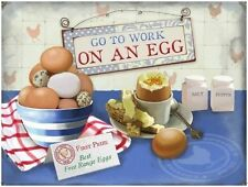 Go to Work on an Egg, Kitchen Cafe, Free Range Breakfast, Medium Metal Tin Sign