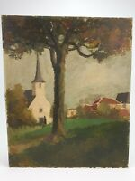 Antique Belgian Painting Oil on Board Victor ABELOOS Village with Church E/0507