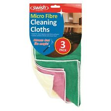 Pack 3 x Microfibre Micro Fibre Cleaning Cloths - Smear Free finish for Glass!