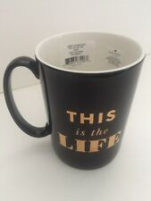Lenox Kate Spade New York Simply Sparkling This Is The Life Mug 12Oz Black Gold