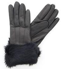 Coach 83731 Womens Rabbit Fur Cuff Leather Merino Wool Lined Winter Gloves Black