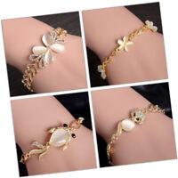 Women Fashion Jewelry Charm Rhinestone Chain Bangle Cuff Open Bracelet