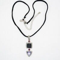 lia sophia women jewelry silver tone purple cut crystal pendant leather necklace