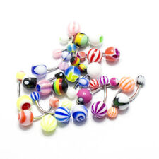 20 Pack Belly Ring Navel Body Piercing Jewelry Assorted Acrylic Beads 14G
