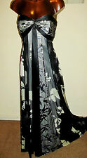 Lovely Monsoon Strapless Wedding Silver Silk Maxi 50s Party Dress Size 8