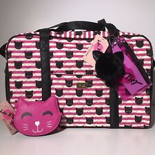 LUV BETSEY JOHNSON 2PC QUILTED CAT KITTY WEEKENDER BAG NWT WITH COIN PURSE NWT