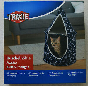 TRIXIE HANKA 2 LEVEL PLUSH HANGING CAVE SHELTER HAMMOCK FOR CAT BLACK/WHITE GEO