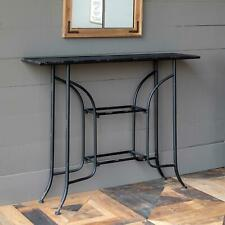 Metal Console Table Distressed Black