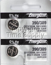 2 pc 390 / 389 Energizer Watch Batteries SR1130W 1130 0% HG