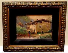 1925 ANTIQUE OIL PAINTING ITALY VILLA MOUNTAIN ROAD SCENE FRAMED 11 X 9