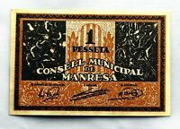 Spain-GUERRA CIVIL. Billete. 1 Peseta 1937. Manresa. EBC/XF
