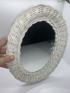 Vintage White Wicker Oval Wall Hanging Mirror Boho