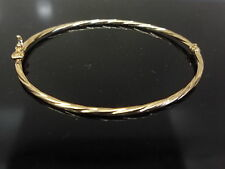 new bangle 9ct 375 yellow gold narrow hollowed twisted made in italy unoaerre
