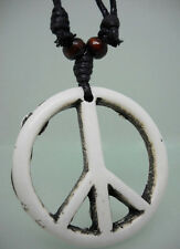 H1015 peace sign wooden bead adjustable string resin pendant chain