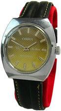 Cobra deLuxe vintage Handaufzug gelb grün Lederband Herrenuhr classic mens watch
