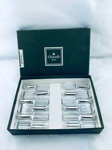 Christofle knives rest Set Luc Lanel  STRIE Raquette Perfect X12 Art Deco