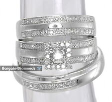 diamond .23 carat 3-ring 925 bridal engagement wedding band set matching groom
