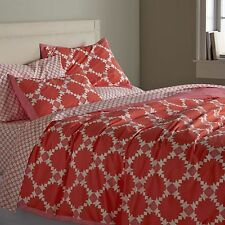 Crate & and Barrel GENEVIEVE Duvet Cover- TWIN- Coral/Pink/White -New with tags!