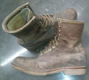 """CHIPPEWA RARE ELEPHANT LEATHER APACHE PACKER LOGGER 9"""" ANKLE BOOTS TAN VINTAGE!!"""