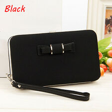 Womens Bowknot Wallet Long Purse Card Phone Holder Clutch Large Capacity Pocket