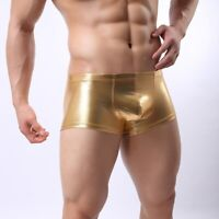 New mens faux leather shorts GOLD  fetish erotica underwear dance party