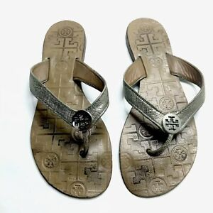 Tory Burch Thora Thong Sandals Brown Silver Women's 7