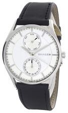 Skagen SKW6244 Silver Tone Dial Black Leather Strap Men's Watch